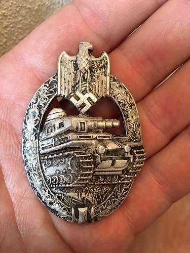 Panzerkampfabzeichen in Silber Adolf Scholze
