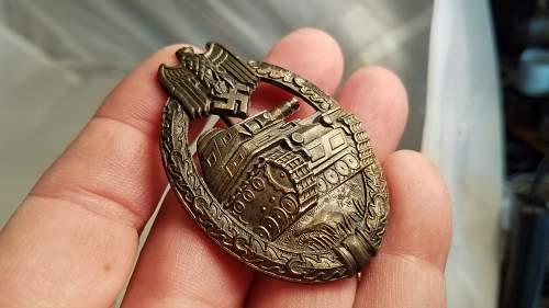 Panzerkampfabzeichen in Bronze unmarked opinions please