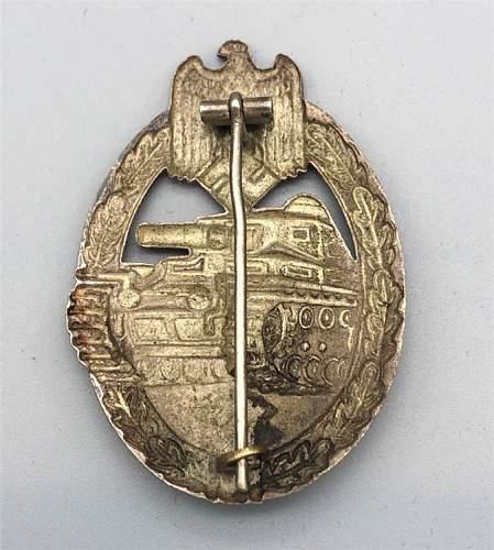Panzerkampfabzeichen in Silber, unmarked hollow back