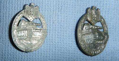 Panzerkampfabzeichen in Silver and Bronze by AS for opinions