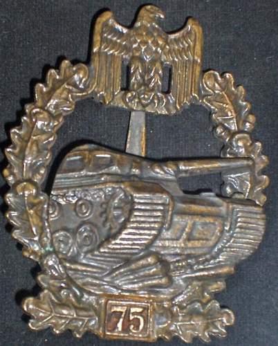 Panzerkampfabzeichen mit einsatzzahl 75