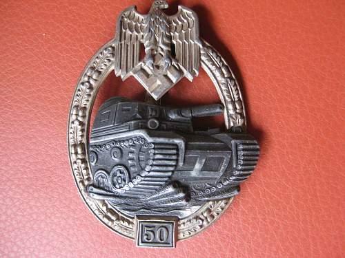 Panzerkampfabzeichen with number 50