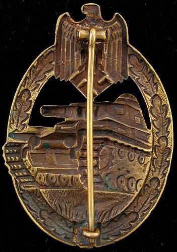 Panzerkampfabzeichen in Bronze/Silber 'Wurster'