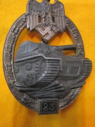 "Opinions on JFS Panzerkampfabzeichen II Stufe ""25""."