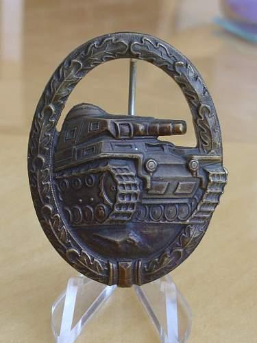 """1957 """"Panzerkampfabzeichen"""" in Bronze....."""
