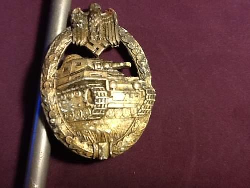 Panzerkampfabzeichen in bronze relic.