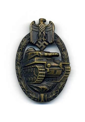 Deumer Hollow Tombak Panzerkampfabzeichen in Bronze.