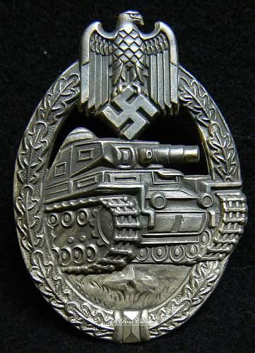 Panzerkampfabzeichen in Silber,  Unmarked William Hobacher