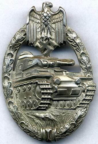 Nickel Silver Panzerkampfabzeichen by C.E. Juncker of Berlin.