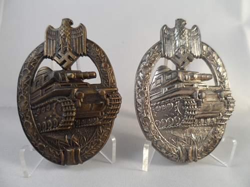 Bronze & Silver Semi Hollow Panzerkampfabzeichen's by Adolf Scholze (A.S.), Gablonz an der Neisse.