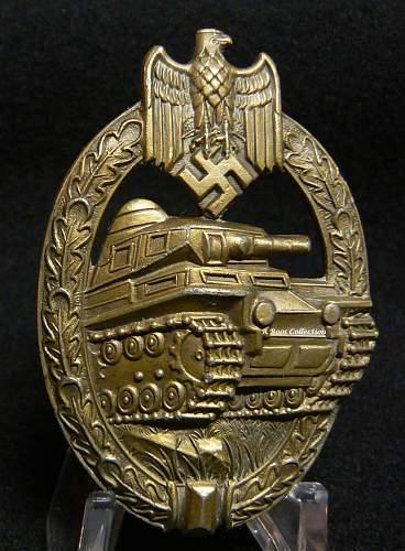 Bronze Panzerkampfabzeichen by AS in Triangle.