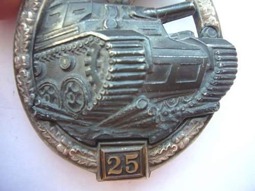 """Panzerkampfabzeichen II Stufe """"25"""""""