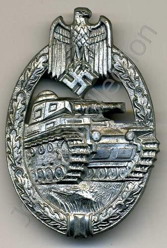 Hermann Aurich Panzerkampfabzeichen in silver.
