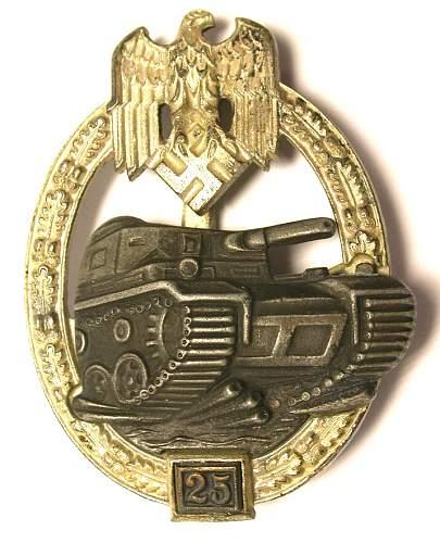 "Panzerkampfabzeichen II Stufe ""25""  jfs  copy / or real"