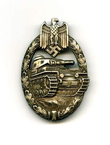 Juncker 1.1.1 Panzerkampfabzeichen in Silver
