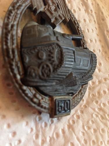 """Panzerkampfabzeichen III Stufe """"50"""""""