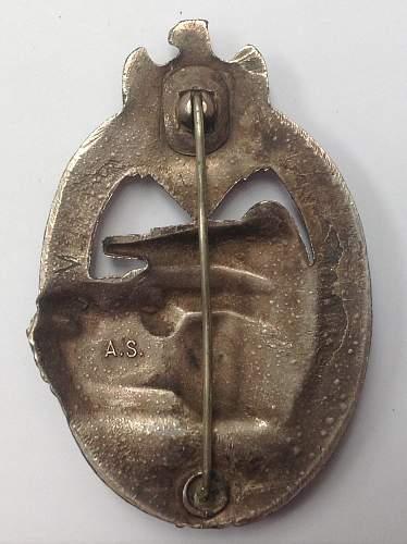 """Panzerkampfabzeichen in Silber by """"AS"""""""