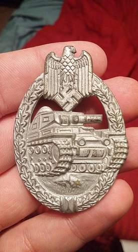 Unmarked Panzerkampfabzeichen in Silver