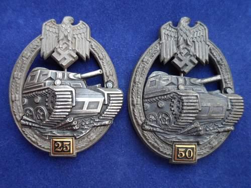 """Panzerkampfabzeichen II Stufe """"25"""", Gustav Brehmer"""