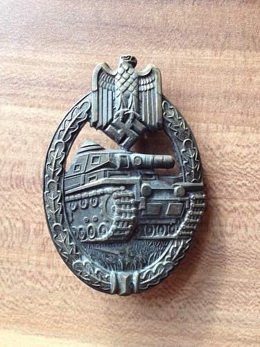 Panzerkampfabzeichen in Bronze - Tank Battle Badge in Bronze (Frank & Reif Stuttgard