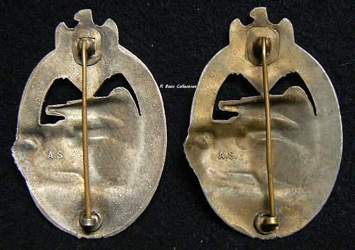 """Panzerkampfabzeichen in Bronze, A.S. """"in Track"""", Adolf Scholtze"""