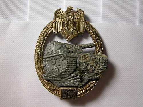 """Panzerkampfabzeichen III Stufe """"50"""" for verification"""