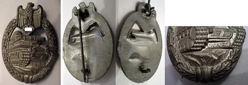 """Panzerkamfabzeichen in Silber - """"Daisy"""" variant - original?"""