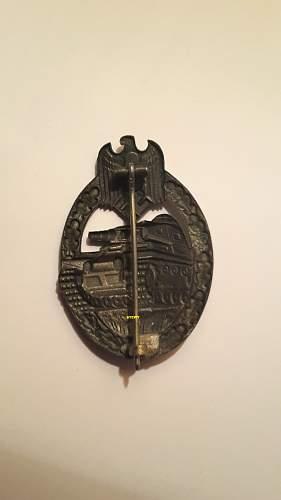 GWL zinc Panzerkampfabzeichen in Bronze