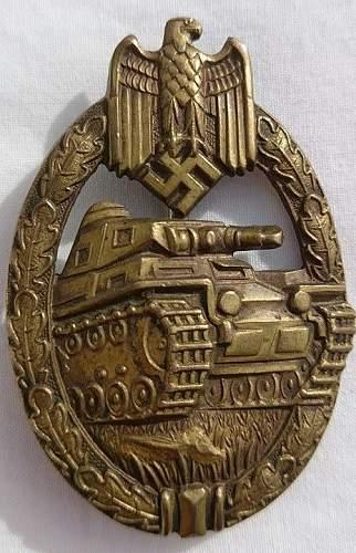 """Bronze hollowback Panzerkampfabzeichen by Karl Wurster. """"Organised grass"""""""
