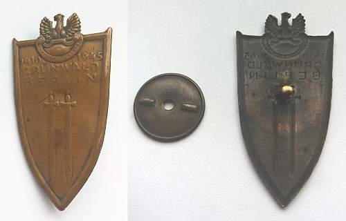 Odznaka Grunwaldzka (Grunwald Award) with document