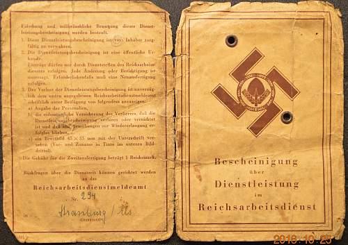 ReichsArbeitsDienst Bescheinigung