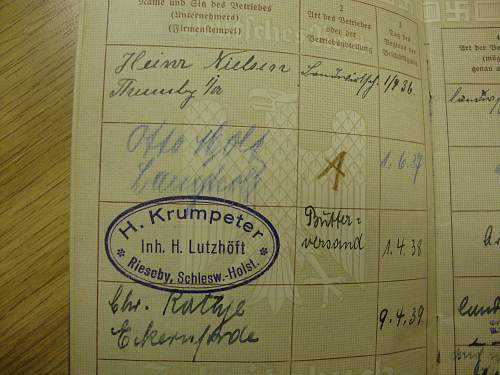 Arbeitsbuch entry: What occupation?