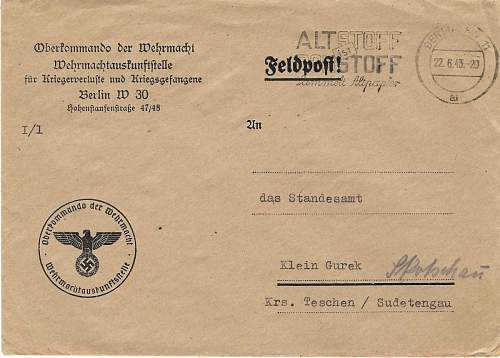 SS Feldpost collection