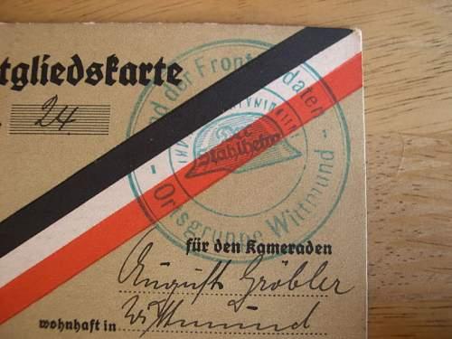 stahlhelmbund members cards