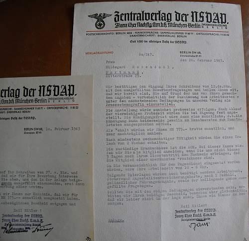 Central Print Press NSDAP Letter,