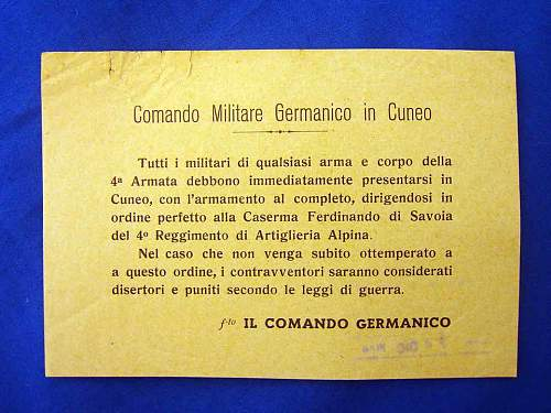 A small piece of Italian History on a German Leaflet!