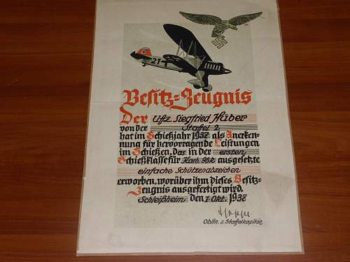 German WH GBJ framed Service Certificate
