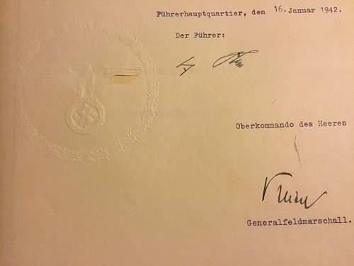 Adolf hitler signed order promoting walter model