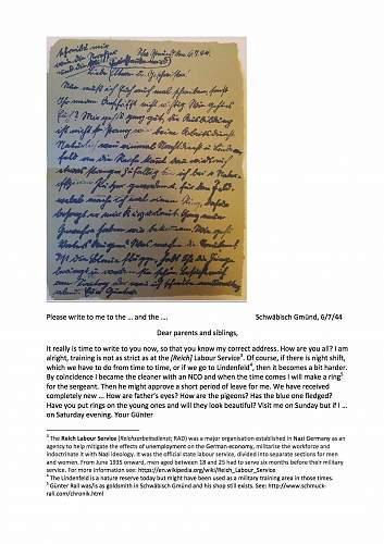 Field post letter. July 1944.