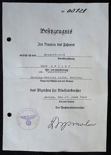 Blockade runner document and dorpmueller signature