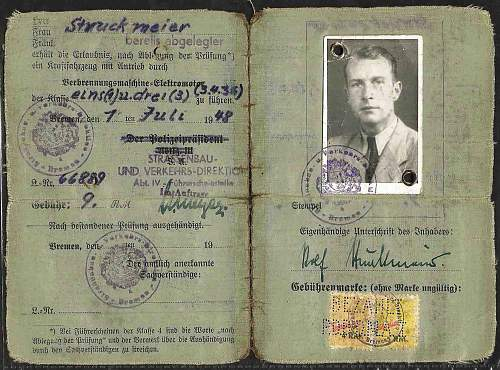 post-war drivers license for Rolf Struckmeier