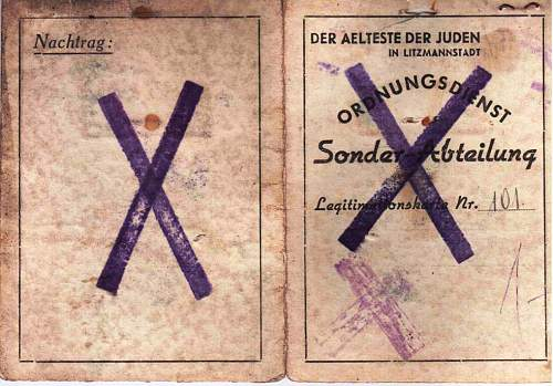 Click image for larger version.  Name:Lodz Ghetto Police ID.jpg Views:354 Size:206.7 KB ID:121934