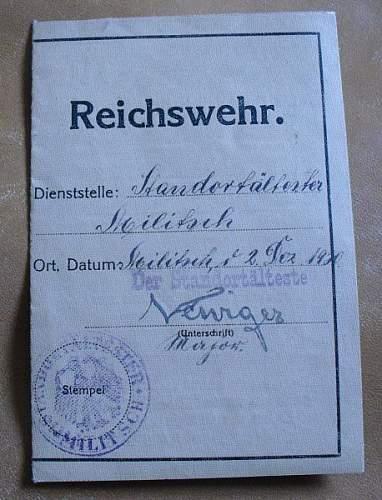 Reichswehr Pass for worker?