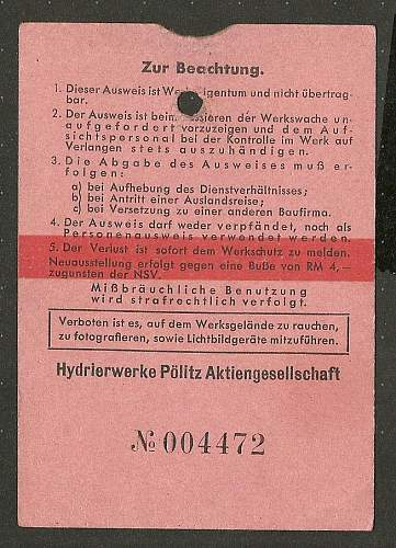 Hydrierwerke Stettin-Politz : Ausweis