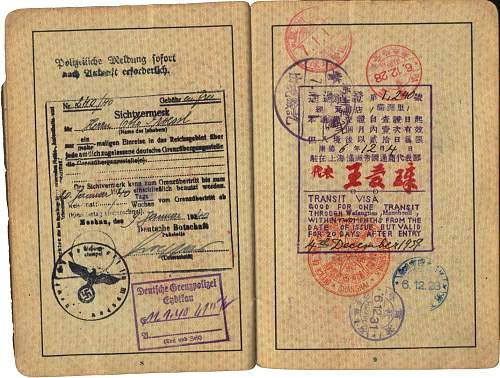 Reisepass 1939- Shanghai, China