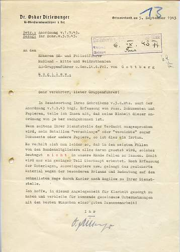 Dirlewanger signed document...opinions