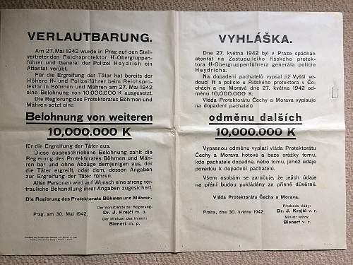 Heydrich Assassination Reward Poster, Translation Please if Possible
