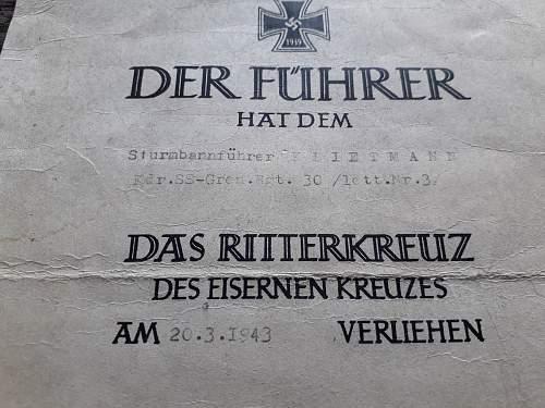 Knight's Cross Certificate