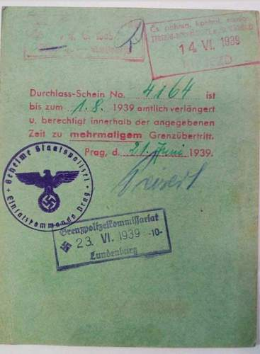 German gestapo issued daily-pass 1939