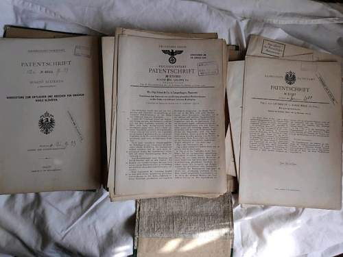 Original  Patents WW2 and WW1/Pre WW1 German